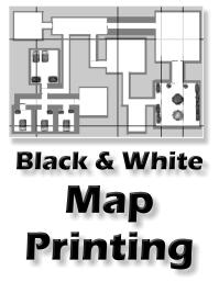 black and white map printing service